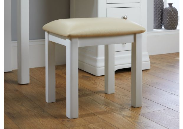 Farmhouse White Painted Oak Dressing Table Stool - SUMMER SALE