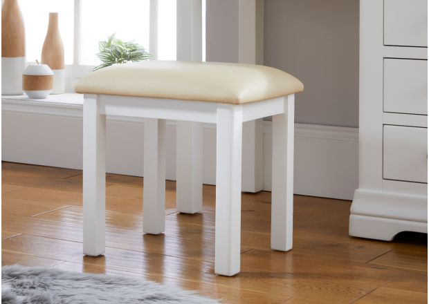 Farmhouse White Painted Oak Dressing Table Stool
