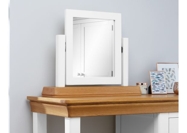 Farmhouse White Painted Oak Dressing Table Mirror - AUTUMN SALE