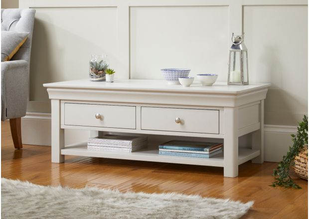 Toulouse Large Grey Painted Coffee Table 4 Drawers with Shelf