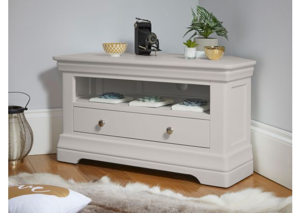 Toulouse Grey Painted Corner TV Unit with Drawer