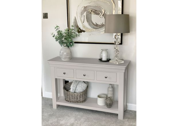 Toulouse 3 Drawer Large Grey Painted Console Table - Instagram Influencer photo