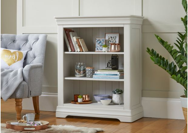 Toulouse Low Small Grey Painted Bookcase