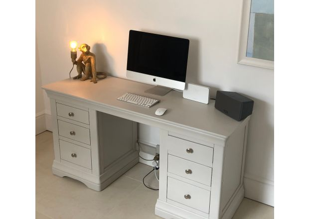 Toulouse Double Pedestal Grey Painted Large Dressing Table / Desk - customer photo 1