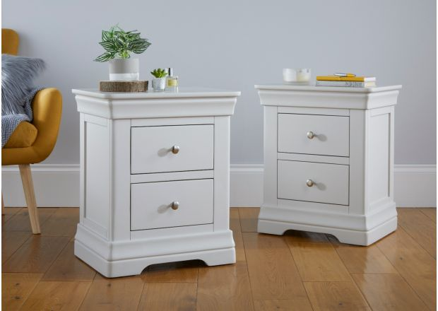 Pair of Toulouse Grey 2 drawer bedside tables