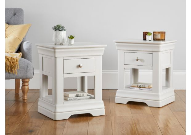 Pair of Toulouse Grey 1 drawer bedside tables - set deal