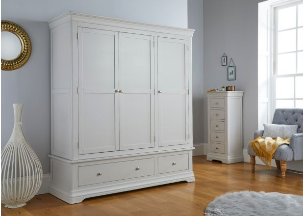 Toulouse Grey Painted Triple Wardrobe with Drawers