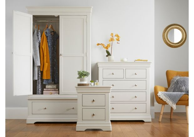 Toulouse Grey Bedroom Set, Wardrobe, Chest of Drawer & Bedside - Special Deal