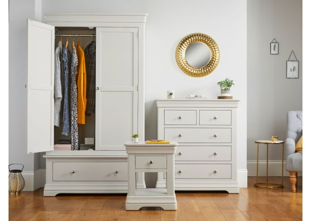 Toulouse Grey Bedroom Set, Wardrobe, Chest of Drawers, 1 Drawer Bedside Table