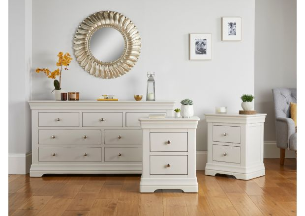 Bedroom Set - Toulouse Grey 3 over 4 Drawers and pair of Bedside Tables - AUTUMN SALE