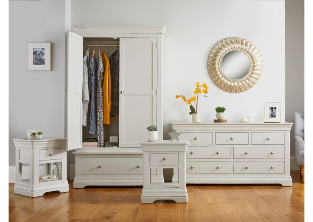 Toulouse Grey Bedroom Set, Wardrobe, Large Chest of Drawers, Pair of 1 Drawer Bedside Tables - AUTUMN SALE