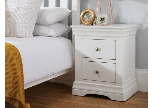 Toulouse White Painted 2 Drawer Bedside Table - FULLY ASSEMBLED - WINTER SALE