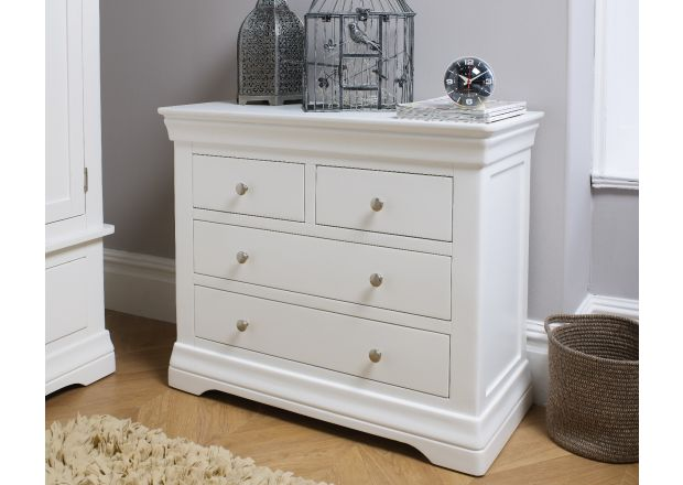 Toulouse White Painted 2 Over 2 Chest of Drawers