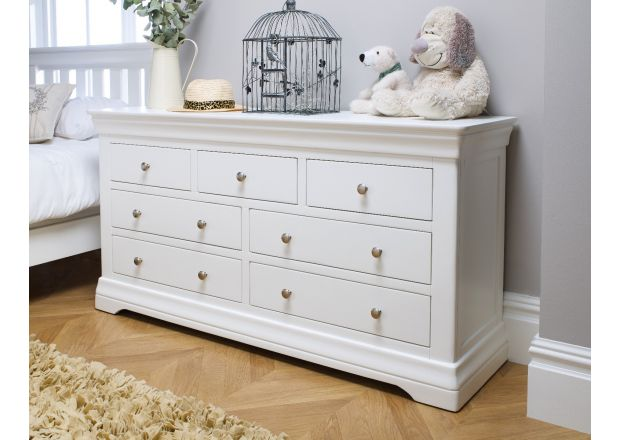 Toulouse White Painted Large 3 Over 4 Chest of Drawers - SUMMER SALE