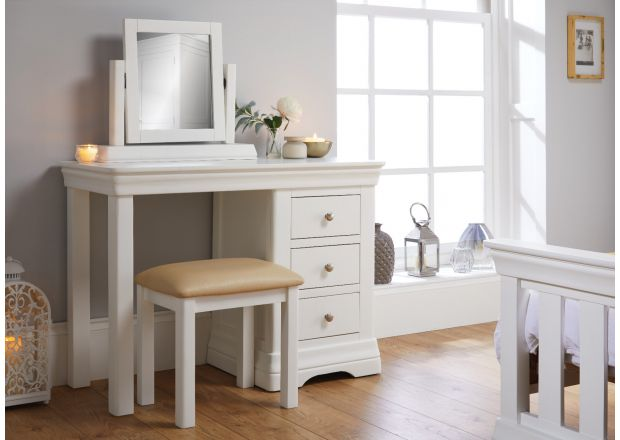 Toulouse White Painted Single Pedestal Dressing Table / Home Office Desk - APRIL MEGA DEAL