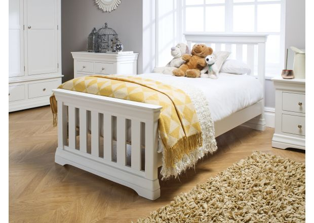 Toulouse White Painted 3 Foot Slatted Single Childrens Bed - AUTUMN SALE