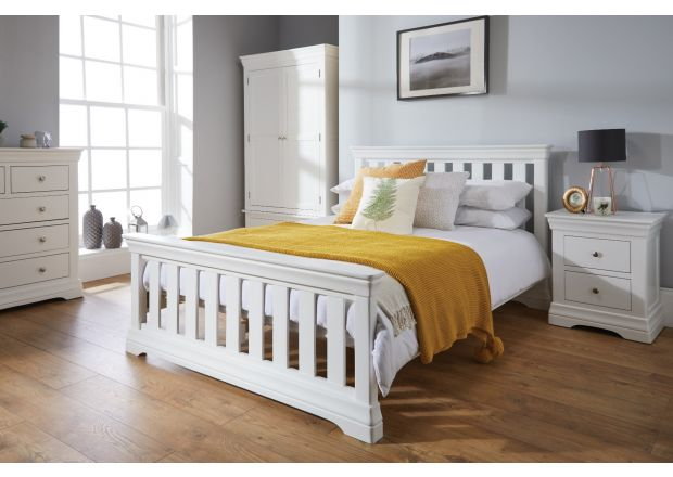 Toulouse White Painted 4 foot 6 inches Slatted Double Bed - AUTUMN SALE