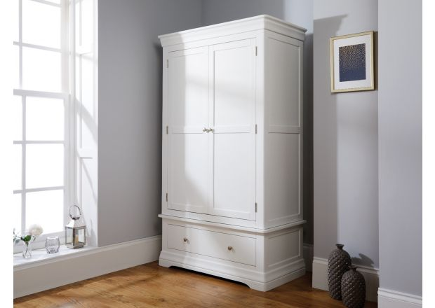 Toulouse White Painted Double Wardrobe with Drawer - AUTUMN SALE