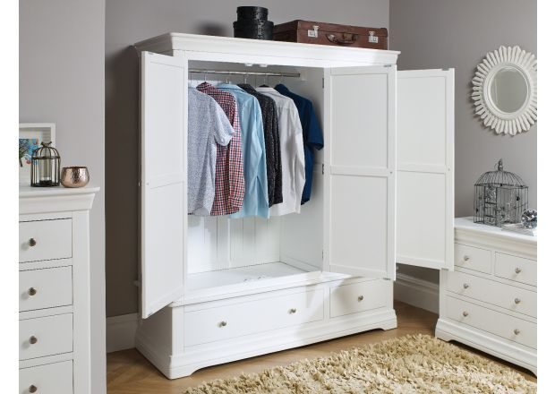 Toulouse GREY Painted Triple Wardrobe with Drawer
