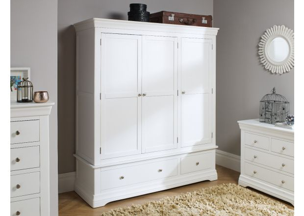 Toulouse White Painted Triple Wardrobe with Drawer - AUTUMN SALE