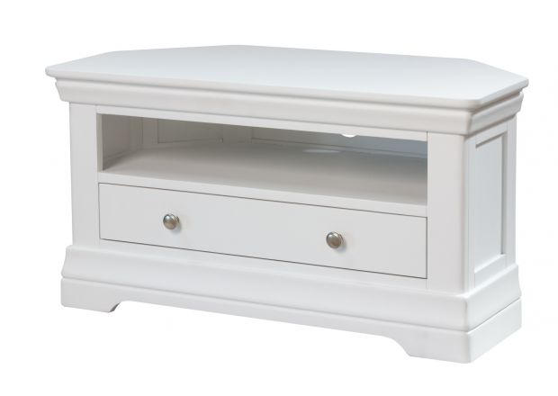 Toulouse White Painted Corner TV Unit with Drawer