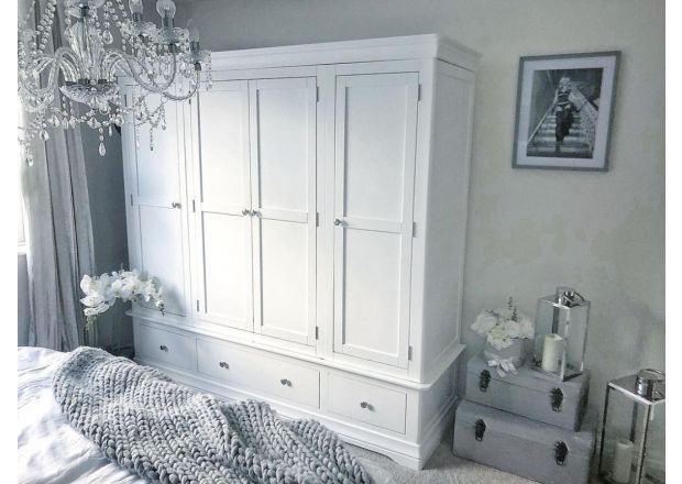 Toulouse White Painted 4 Door Quad Extra Large Wardrobe - Instagram collab