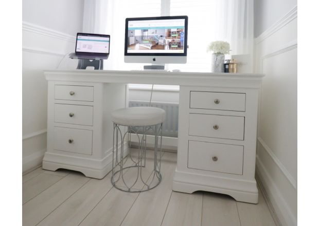 Toulouse White Painted Double Pedestal Large Dressing Table / Desk taken by @toni_interior on Instagram