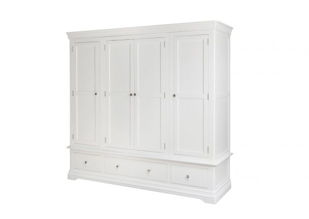 Toulouse White Painted 4 Door Quad Extra Large Wardrobe with Drawers