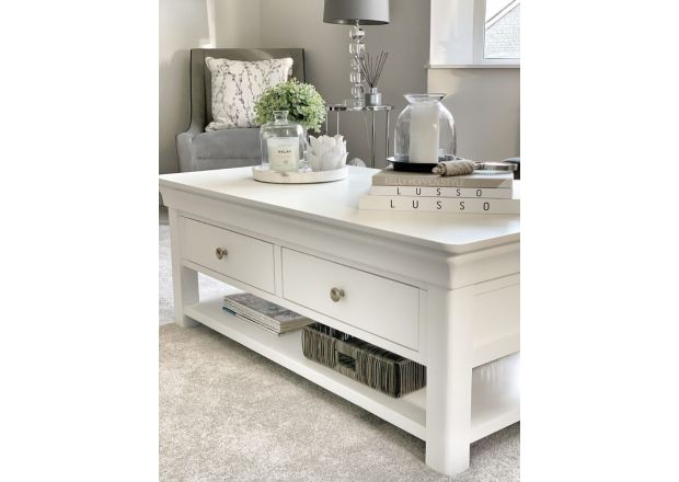 Toulouse White Painted Large Coffee Table 4 Drawers with Shelf Instagram Influencer @love.to.be.home living room photo