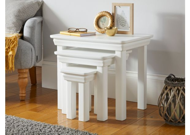 Toulouse White Painted Nest Of 3 Table living room furniture