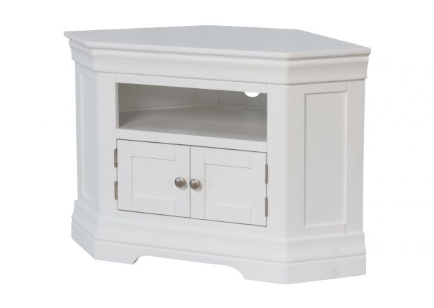 Toulouse White Painted Corner TV Unit 2 Doors