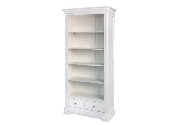 Toulouse White Painted Tall Bookcase 2 Drawers