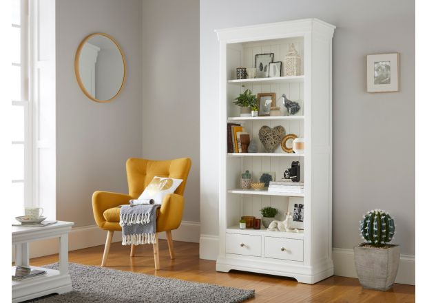 Toulouse White Painted Tall Bookcase 2 Drawers with adjustable shelves