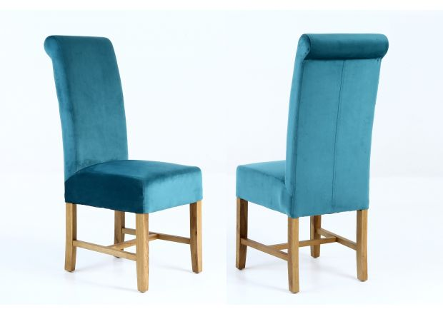 Harrogate Teal Green Velvet Dining Chair with Oak Legs - WINTER SALE