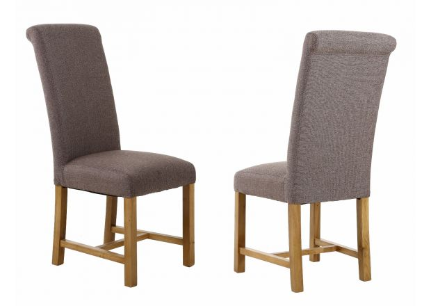 Harrogate Brown Herringbone Fabric Dining Chair with Oak Legs - NEW