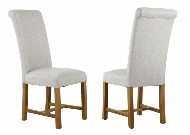 Harrogate Cappuccino Herringbone Fabric Dining Chair Oak Legs - AUTUMN SALE