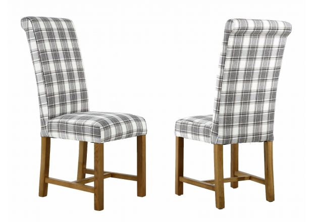 Harrogate Check Cappuccino Herringbone Fabric Dining Chair with Oak Legs - APRIL MEGA DEAL