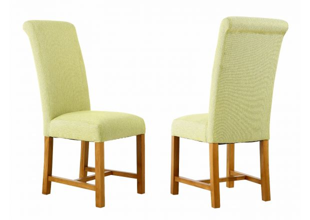 Harrogate Lime Green Herringbone Fabric Dining Chair with Oak Legs - APRIL MEGA DEAL