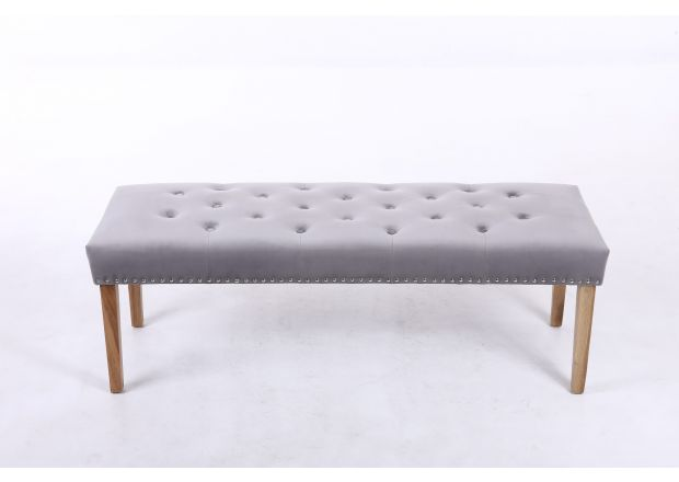 Highgrove Silver Grey Fabric Studded Medium Oak Dining Bench
