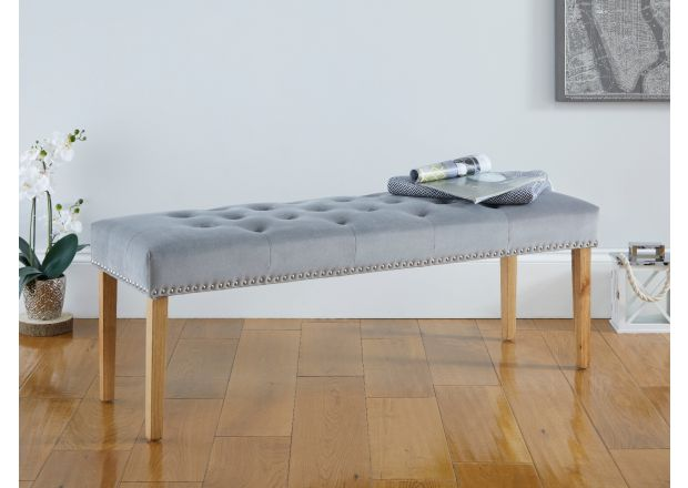 Highgrove Grey Velvet Fabric Studded Medium Oak Dining Bench