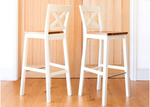 Java Cross Cream Painted Tall Bar Stool - Oak Seat - GET 10% OFF WITH CODE SAVE