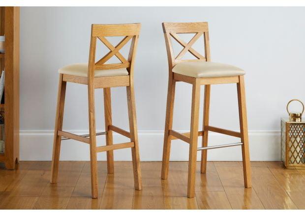 Java Cross Oak Kitchen Stool - Cream Leather - GET 10% OFF WITH CODE SAVE