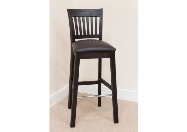 Java Dark Acacia Bar Stool Dark Brown Leather Pad - WINTER SALE