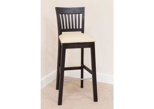 Java Cream Leather Solid Dark Acacia Tall Kitchen Stool - WINTER SALE