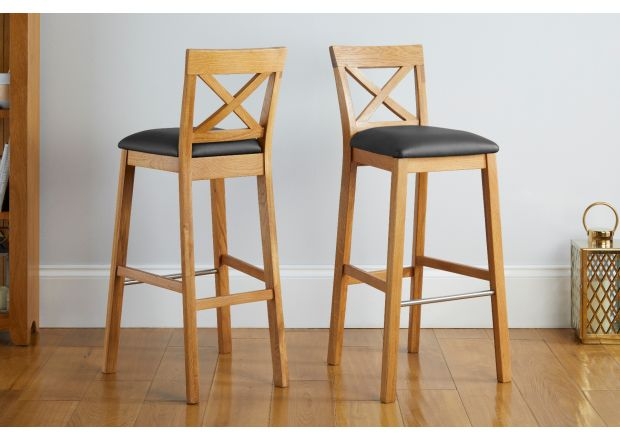 Java Cross Tall Oak Kitchen Stool in Black Leather - GET 10% OFF WITH CODE SAVE