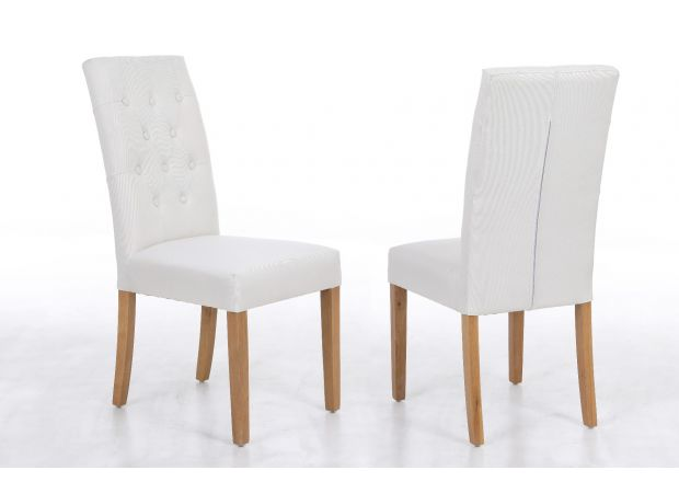 Kensington Beige Fabric Dining Chair Oak Legs