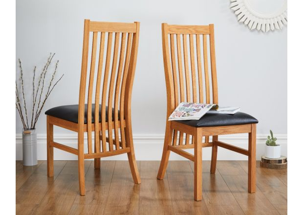 Lichfield Solid Oak Dining Chair Black Leather - SPRING SALE