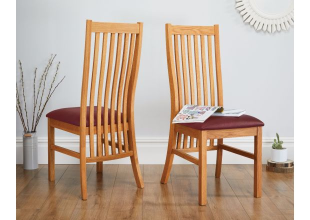 Solid Oak Red Leather Lichfield Dining Chair - AUGUST MEGA DEAL