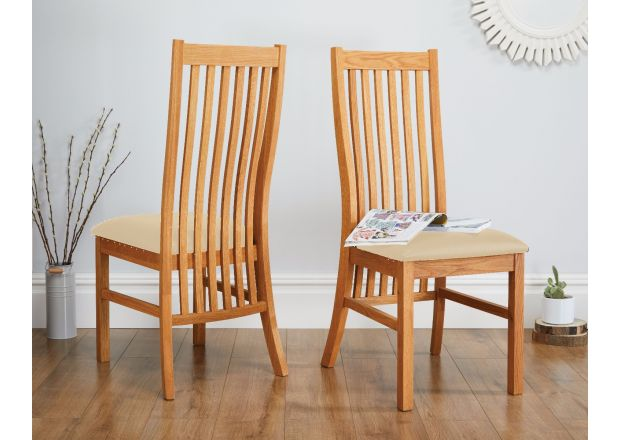 Lichfield Cream Leather Solid Oak Dining Room Chairs - APRIL MEGA DEAL