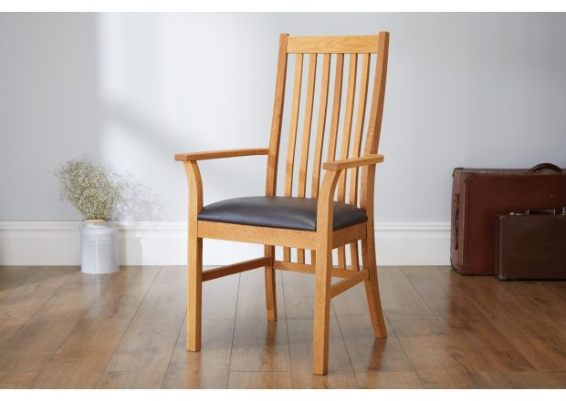 Lichfield Brown Leather Carver Oak Dining Chair - SUMMER SALE